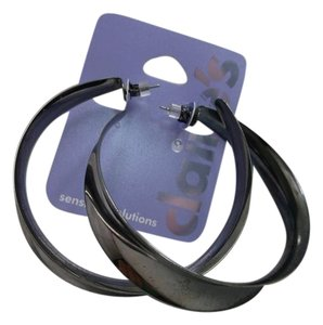 Claire's Claire's Sensitive Solutions Gunmetal Hoops w Free Shipping