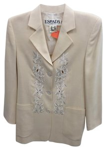 Escada Floral Embroidered Perforated Cream Blazer