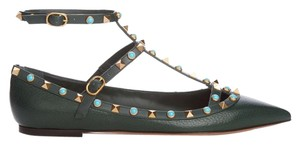 Valentino Leather Studded Dark green 36.5(EU) NIB Flats