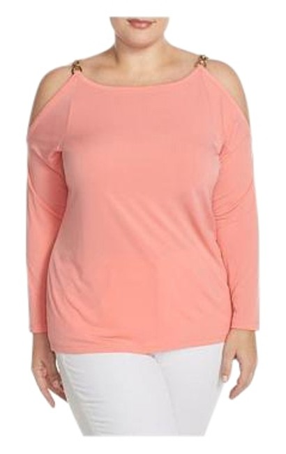 Michael Kors Caribbean Pink 1x Oval Chain Cold Shoulder Blouse Size 16 (XL, Plus 0x) Michael Kors Caribbean Pink 1x Oval Chain Cold Shoulder Blouse Size 16 (XL, Plus 0x) Image 1