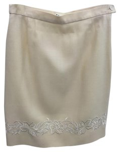 Escada Floral Embroidered Skirt Cream