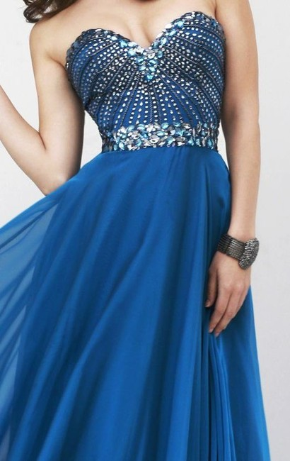 Sherri Hill Prom Homecoming Plus Size Navy Dress Image 1