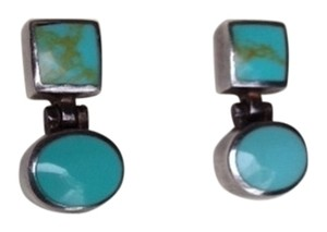 Silver & Aqua Stone Earrings