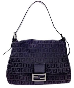 Fendi Pewter Canvas Nylon Shoulder Bag