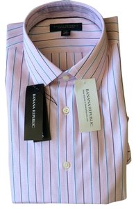 Banana Republic Men Top Pink with blue, white, red and burgungy strips