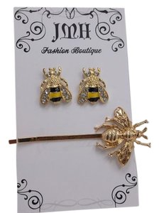 Bee Hair Pin and Bee Fashion Earrings Gift Set w Free Shipping