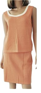St. John St John 2 Piece Top Skirt Santana Knit Sherbet Orange Top S Skirt 8