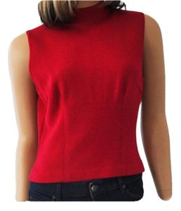 St. John Santana Knit Mock Neck Top Red