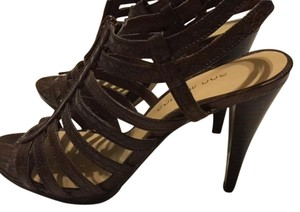 Ann Marino High Heels Dark Crocodile Brown Sandals