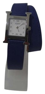 Hermès New Hermes H Hour Heure PM Royal Blue Leather Double Tour Watch