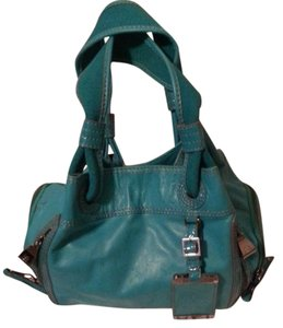 BCBGMAXAZRIA Leather Tote in Blue / Teal