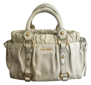 Miu Miu Soft Leather Gold Hardware Top Handle Cross Body Tote in grey beige white