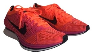 Nike Flyknit Racer Sneaker Tennis Running Pink Flash/Hyper Crimson/Black Athletic