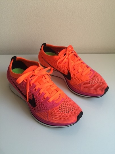 Nike Flyknit Racer Sneaker Tennis Running Pink Flash/Hyper Crimson/Black Athletic Image 1