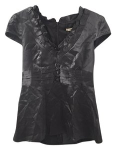 Nanette Lepore Madeintheusa Ruffles Silk Top Dark grey