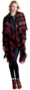 Anthropologie Tartan Blanket Fringe Coat