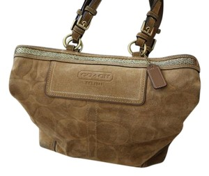 Coach Suede Beaded Tote in Camel / Beige