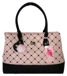 Betsey Johnson Blush Triple Entry Satchel in Blush/black