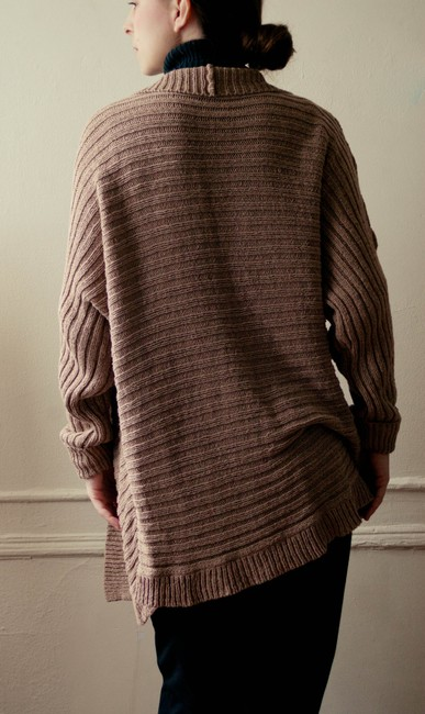Dana Buchman Beige Taupe Brown Ribbed Camel Knit Knitted Cardigan Open Front Hippy Hippie Boho Bohemian Hipster Fall Spring Sweater