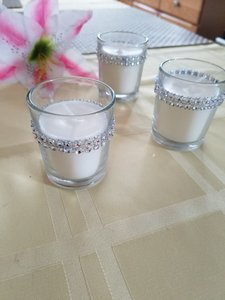 Rhinestone Wrapped Glass Votive W/ Unscented Candle