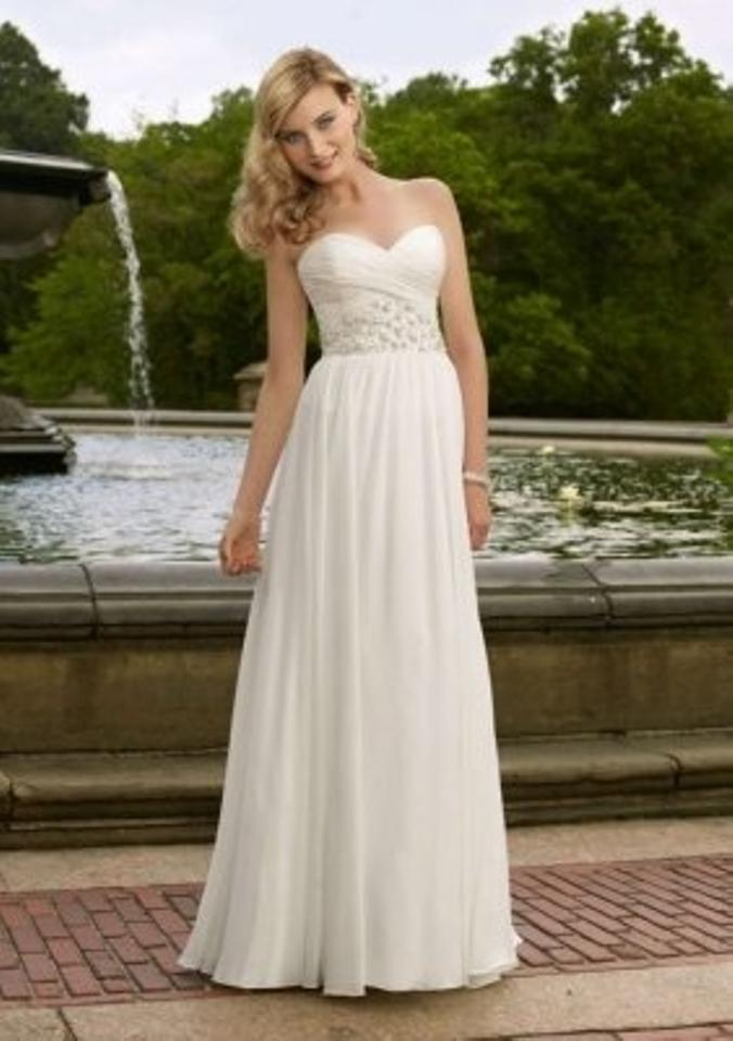 Mori Lee White/Silver Chiffon 6703 Formal Wedding Dress Size 8 (M ...