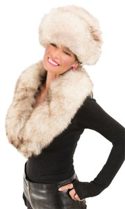 Saga Furs LOVELY SILVER FOX COLLAR Collar Cape Wrap Stole Wedding Stole and matching HAT