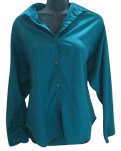 Diane von Furstenberg Career Job Work Formal Button Down Shirt Teal