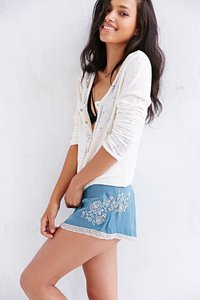 Kimchi Blue Embroidered Floral Satin Dress Shorts Blue and Ivory
