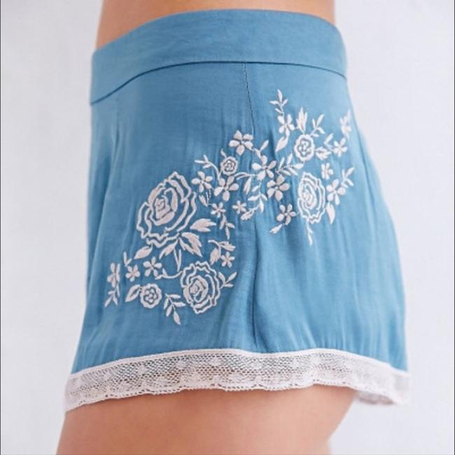 Kimchi Blue Embroidered Floral Satin Lace Trim Slip Dress Shorts Blue and Ivory Image 1