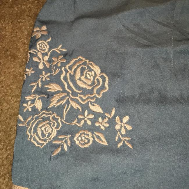 Kimchi Blue Embroidered Floral Satin Lace Trim Slip Dress Shorts Blue and Ivory Image 7