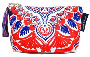 Antik Batik Pouch Makeup Zipper Red, White, & Blue Clutch