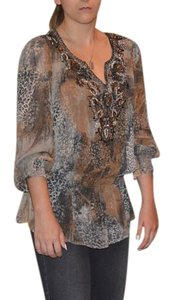Rena Renee Tunic Crystal Bohemian Top Brown/Animal print/Beige