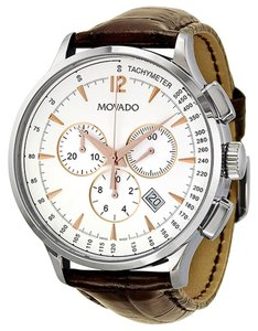 Movado Silver Dial Stainless Steel Brown Embossed Leather Strap Designer Dress MENS Watch