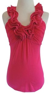 Express Halter Ruffle Top fuschia