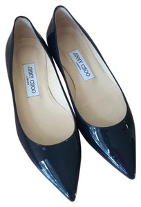 Jimmy Choo Patent Leather Pointed Toe Leather Sole Navy Flats