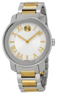 Movado Two Tone Gold and Silver Stainless Steel Designer MENS Casual Watch