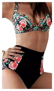 SUMMER CLEARANCE LAST CHANCE New Black 2PC Floral Retro High Waist