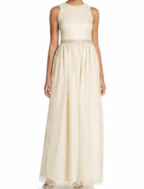 Item - Light Gold Nylon/ Polyester Metallic Beaded Gown Formal Bridesmaid/Mob Dress Size 12 (L)