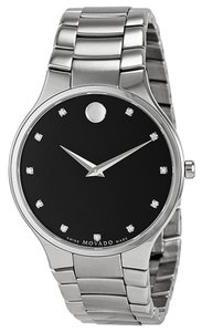 Movado Diamond Set Black Dial Silver tone Stainless Steel Designer MENS Dress Watch