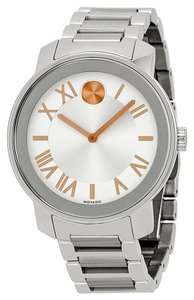 Movado Silver tone Stainless Steel with Rose Gold Accents Designer MENS Casual Watch