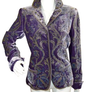 Elie Tahari Silk Velvet Brocade Purple/Grape Blazer