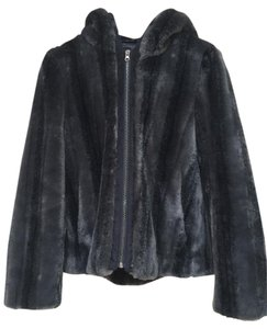 Kristen Blake Faux Fur Mink Hooded Soft Textured Gray Jacket