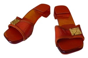 Louis Vuitton LUCITE BODY; PATENT LEATHER ORANGE Mules