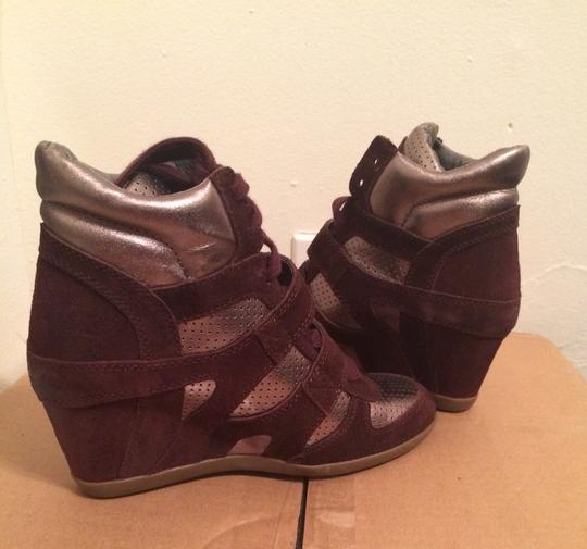 Ash Purple Suede/metallic Leather Wedges