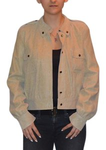 Anne Klein Leather Suede Beige Leather Jacket