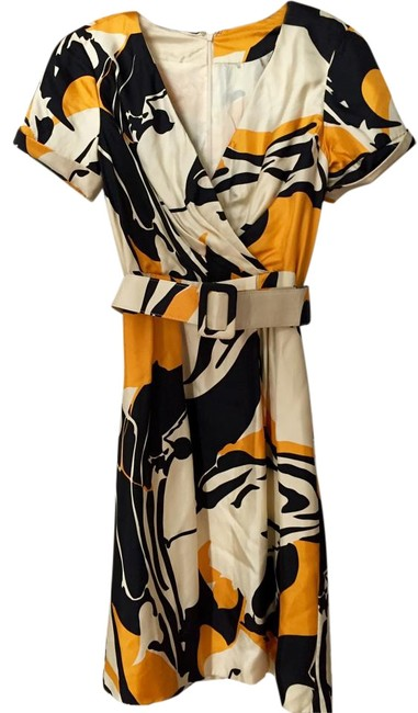 Item - Multicolor Abstract Print Silk Knee Length Cocktail Dress Size 6 (S)