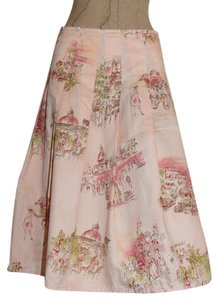 DKNY Printed Pleated Skirt PINK
