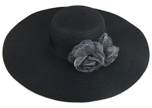 Other Black Flower Accent Wide Brim Summer Floppy Hat