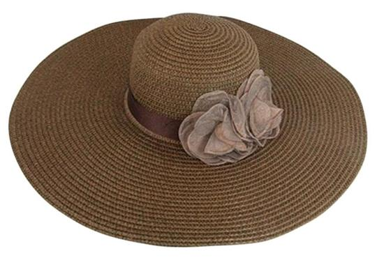 Preload https://img-static.tradesy.com/item/17234536/brown-flower-accent-wide-brim-summer-floppy-hat-0-1-540-540.jpg