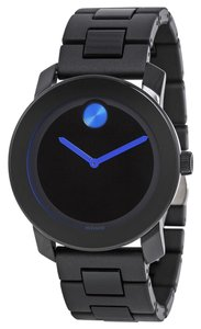 Movado TR9 Blac k Stainless Steel Black Dial with Blue Accents Designer MENS Casual Watch